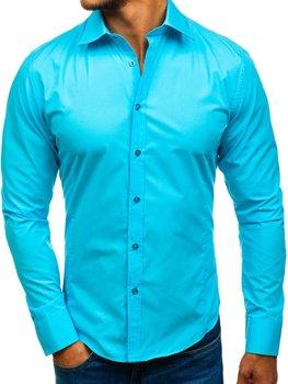 Světle modrá pánská elegantní košile s dlouhým rukávem Bolf 1703 499c1d3f30