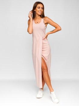 Světle růžové dlouhé dámské šaty Bolf 22129-1