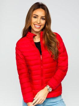 Tmavě červená dámská prošívaná přechodová bunda Bolf 1141