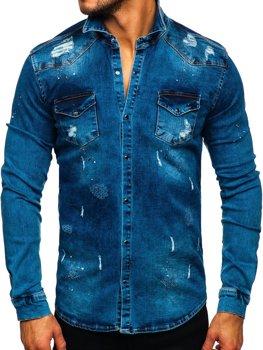 Tmavě modrá pánská džínová košile s dlouhým rukávem Bolf R800