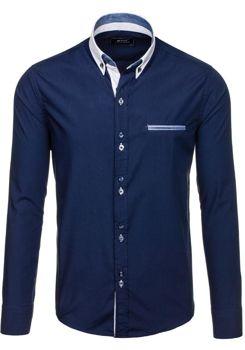Tmavě modrá pánská elegantní košile s dlouhým rukávem Bolf 6945