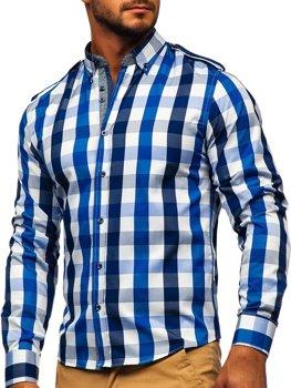 Tmavě modrá pánská kostkovaná košile s dlouhým rukávem Bolf 2779