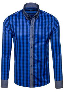 Tmavě modrá pánská kostkovaná košile s dlouhým rukávem Bolf 6954