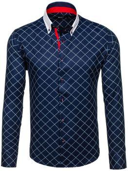 Tmavě modrá pánská kostkovaná košile s dlouhým rukávem Bolf 7702