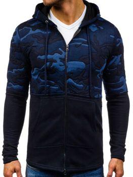 Tmavě modrá pánská mikina s kapucí Bolf 9109