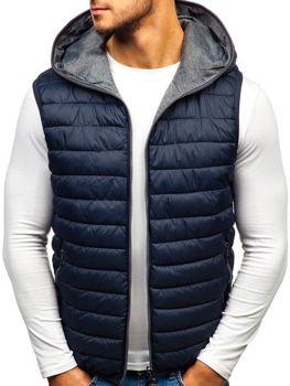 f39aac901a5c Tmavě modrá pánská oboustranná vesta s kapucí Bolf 1251