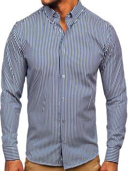 Tmavě modrá pánská pruhovaná košile s dlouhým rukávem Bolf 20726