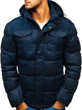 Tmavě modrá pánská sportovní zimní bunda Bolf AB104