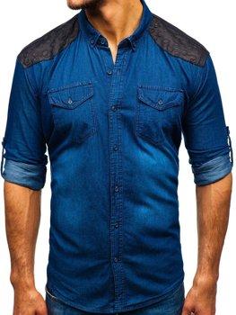 edb1df42d3f5 Tmavě modrá pánská vzorovaná košile s dlouhým rukávem Bolf 0517