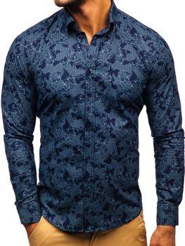 Tmavě modrá pánská vzorovaná košile s dlouhým rukávem Bolf 200G64