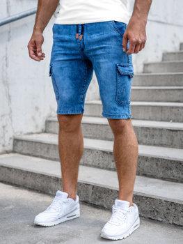 Tmavě modré pánské džínové kapsáčové kraťasy Bolf HY857