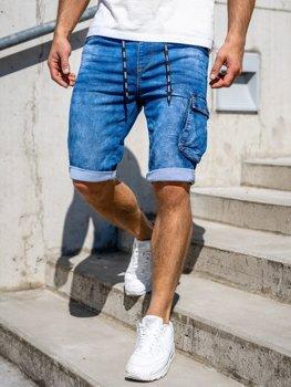 Tmavě modré pánské džínové kapsáčové kraťasy Bolf KR1206
