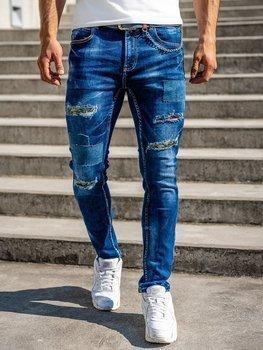 Tmavě modré pánské džíny slim fit s páskem Bolf 80034W0