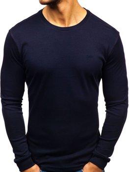 Tmavě modré pánské tričko s dlouhým rukávem bez potisku Bolf 145359
