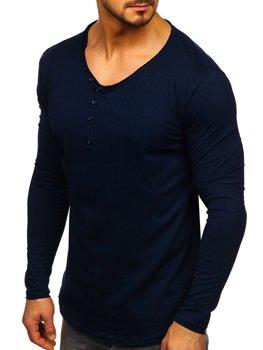 Tmavě modré pánské tričko s dlouhým rukávem bez potisku Bolf 5059