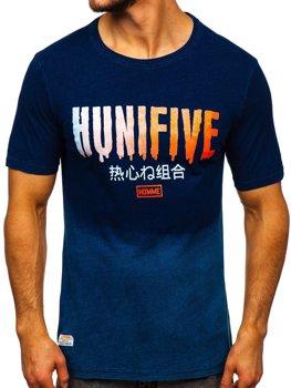 Tmavě modré pánské tričko s potiskem Bolf HFM016