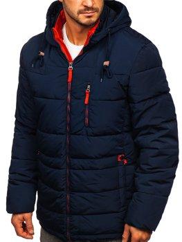 Tmavě modro-červená dámská prošívaná zimní bunda s kapucí Bolf M72073