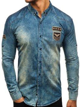 a22019a36ab5 Tmavě modro-šedá pánská džínová košile s dlouhým rukávem Bolf 0992