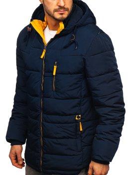 Tmavě modro-žlutá dámská prošívaná zimní bunda s kapucí Bolf M72073