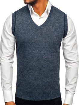 Tmavě modrý pánský svetr bez rukávů Bolf 8121