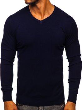 Tmavě modrý pánský svetr s výstřihem do V Bolf YY03