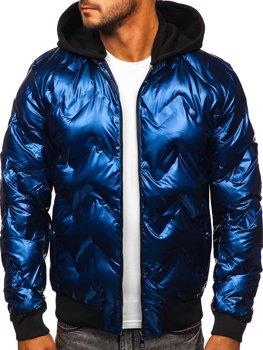 Tmavě modrý pánský zimní bomber s kapucí Bolf 6590