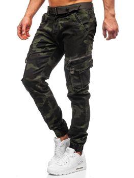 Tmavě zelené pánské jogger kapsáče s páskem Bolf CT6013