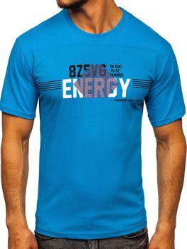Tyrkysové pánské tričko s potiskem Bolf 14333