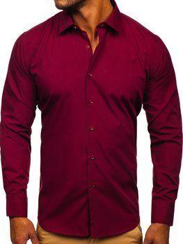 Vínová pánská elegantní košile s dlouhým rukávem Bolf SM19