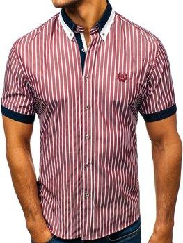 Vínová pánská elegantní kostkovaná košile s krátkým rukávem Bolf 4501