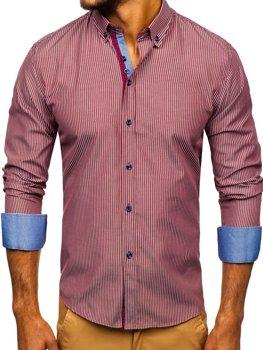 Vínová pánská proužkovaná košile s dlouhým rukávem Bolf 9714