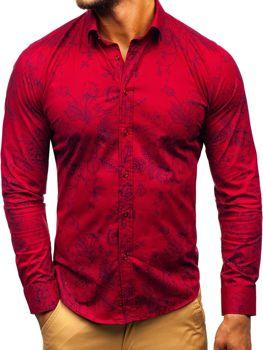 Vínová pánská vzorovaná košile s dlouhým rukávem Bolf 200G68
