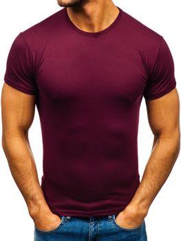Vínové pánské tričko bez potisku Bolf 0001