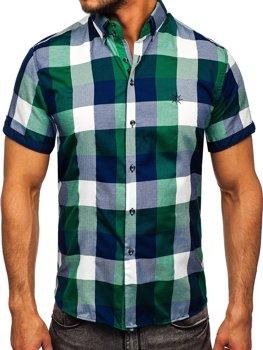 Zelená pánská kostkovaná košile s krátkým rukávem Bolf 5522