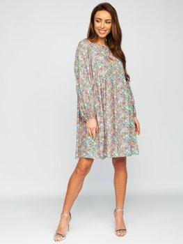 Zelené dámské květinové šaty Bolf 3019