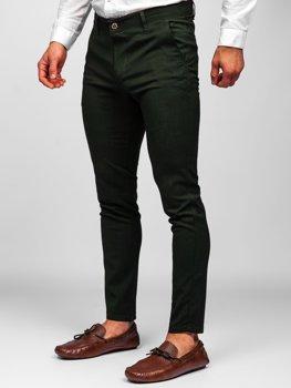 Zelené pánské textilní chino kalhoty Bolf 0015