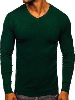 Zelený pánský svetr s výstřihem do V Bolf YY03