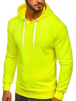 Žlutá neonová pánská mikina s kapucí Bolf 1004