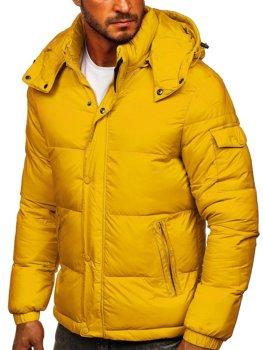 Žlutá pánská prošívaná zimní bunda Bolf 1161