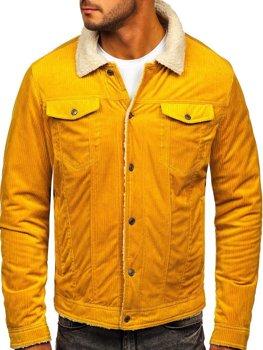 Žlutá pánská zateplená manšestrová bunda Bolf 1179