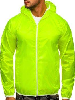 ?luto-neonová pánská p?echodová bunda s kapucí větrovka Bolf 5060