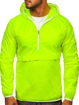 Žluto-neonová pánská přechodová sportovní bunda s kapucí větrovka Bolf 5061