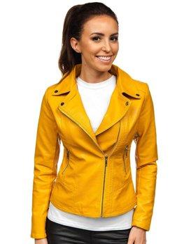 Žlutý dámský koženkový křivák bunda Bolf R17