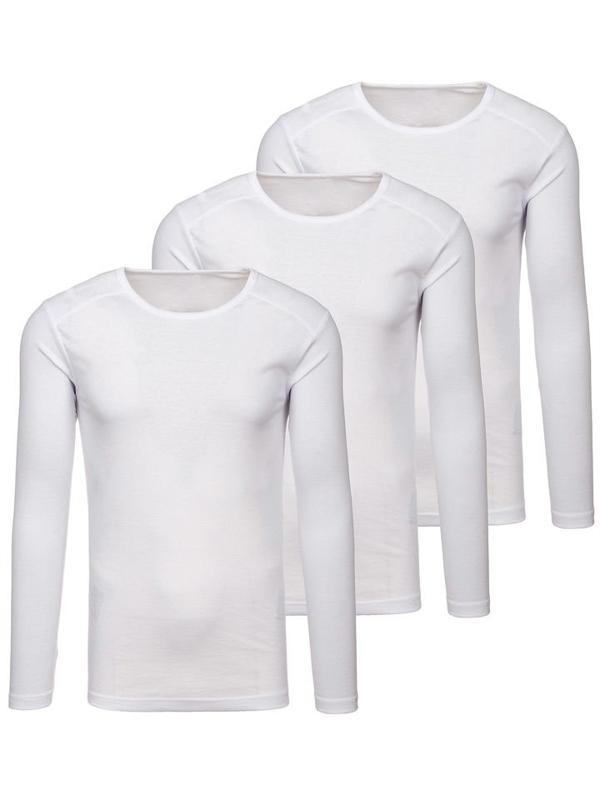 Bílá pánská trička s dlouhým rukávem bez potisku 3 Pack Bolf C10038-3P