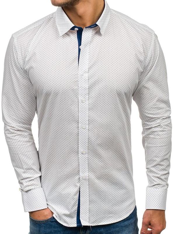 Bílá pánská vzorovaná košile s dlouhým rukávem Bolf GET1011