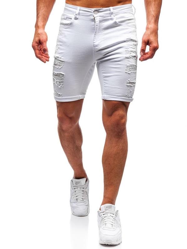 Bílé pánské džínové kraťasy Bolf T392