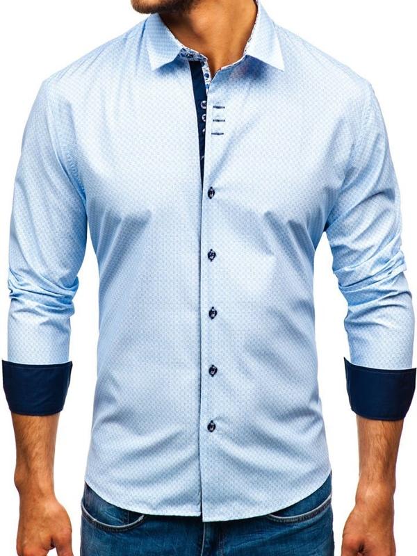 Bílo-modrá pánská vzorovaná košile s dlouhým rukávem Bolf 9703