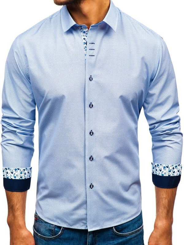 Bílo-tmavě modrá pánská vzorovaná košile s dlouhým rukávem Bolf 9704