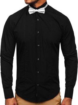 Černá pánská elegantní košile s dlouhým rukávem Bolf  4702-A + motýlek + manžetové knoflíčky