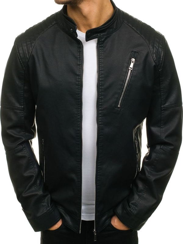 Černá pánská kožená bunda Bolf 1030